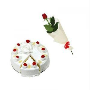 1Kg Pineapple Cake n One Rose