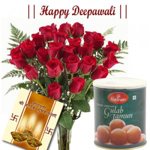 20 Red Roses with Gulab Jamun