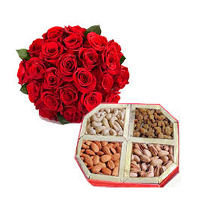 20 Red Roses with 1/2Kg Dry Fruits