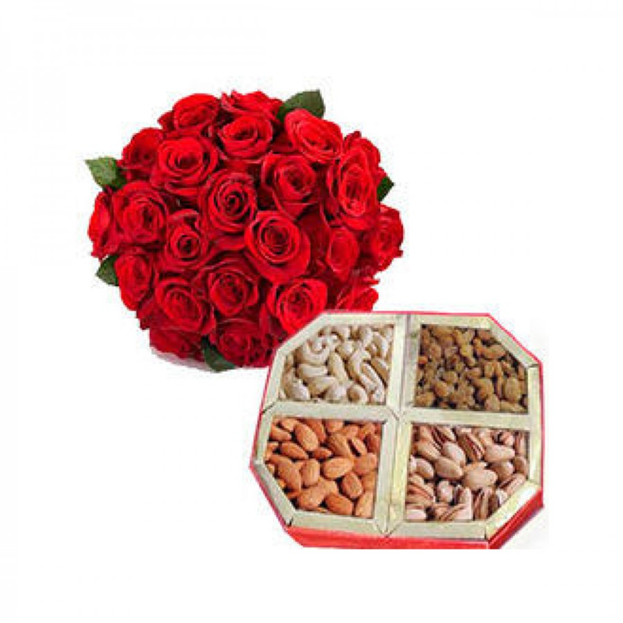 25 Red Roses with 500gm Mixed Dry Fruits