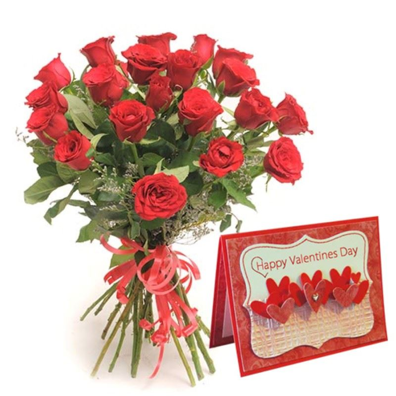20 Red Roses with Valentines Greeting Card