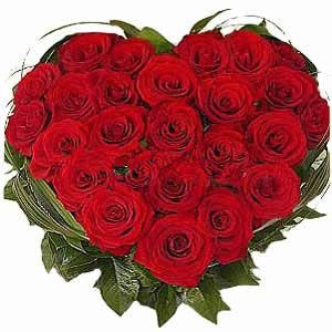20 Red Roses Heart Shape Arrangement