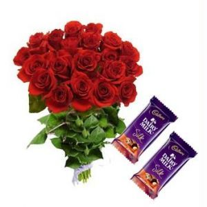 24 Red Roses With Dairy Milk Silk Chocolates