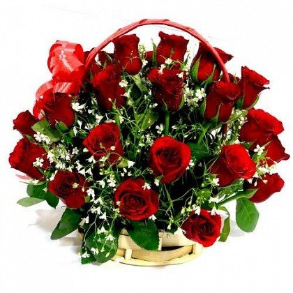 25 Red Roses Basket