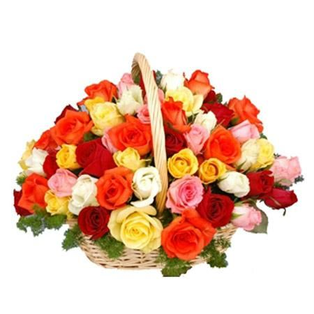 Hand Basket of 30 Mix Roses