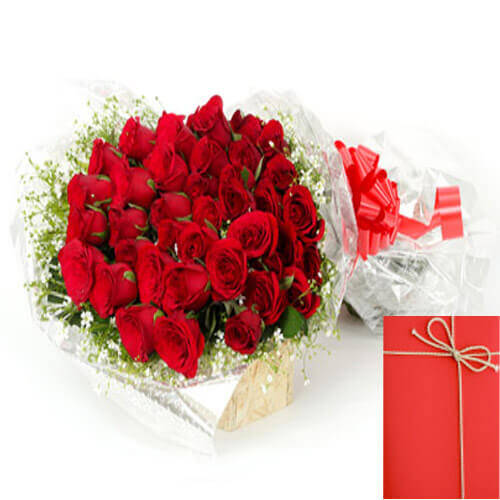 30 Red Roses Bunch with Greeting Card