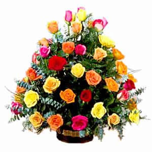 36 Multi Color Rose Basket