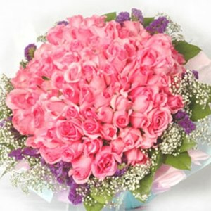 50 Pink Roses Round Bouquet