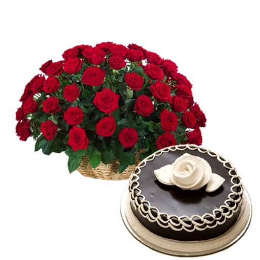 50 Red Roses with Chocolate Cake