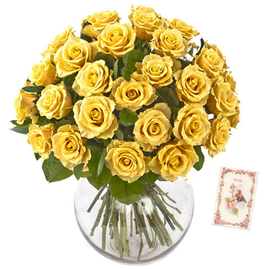 50 Yellow Roses Vase Arrangement