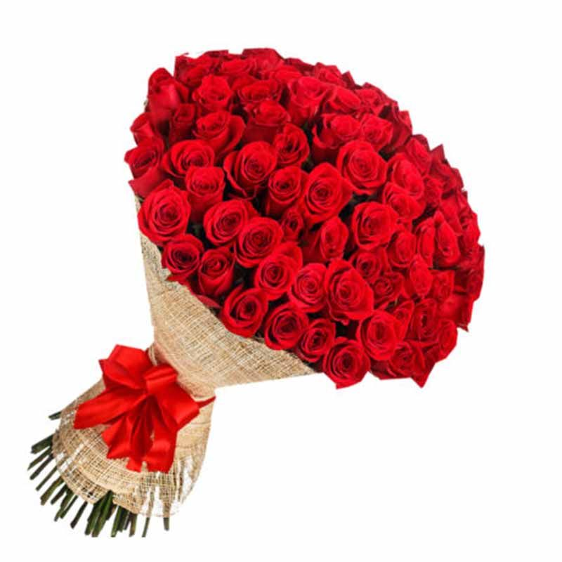 Hand Bunch of 50 Red Roses