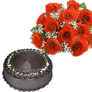 1/2 Kg Truffle Cake with 12 Red Roses