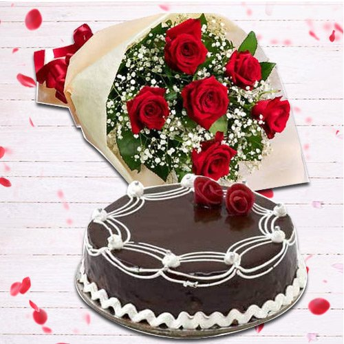 1 Kg Chocolate Cake with 6 Red Roses Bunch