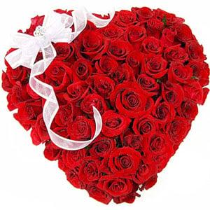 75 Red Roses Heart Shape Arrangement