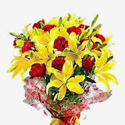 Arragement of Yellow Lillies and Red Carnations