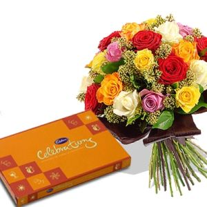 Beautiful 12 Mixed Roses n Cadbury Celebration
