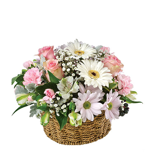 Basket of Pink Roses N White Gerberas