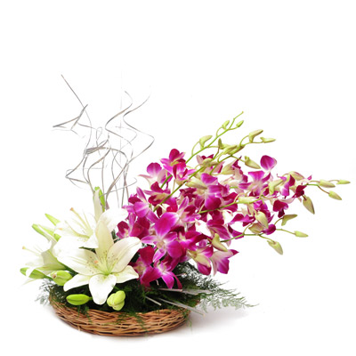 Basket Of White Lilies And Orchids