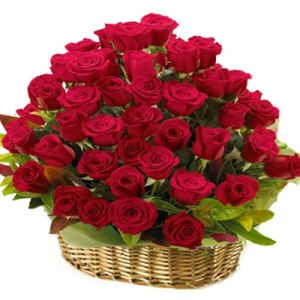 30 Romantic Red Roses Basket