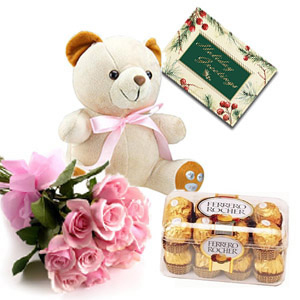 12 Pink Roses, Soft Toy n Ferrero Rocher Chocolate