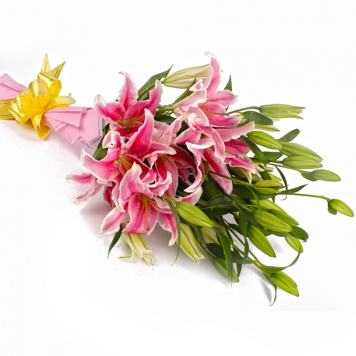 Bunch of 12 Pink Lilies