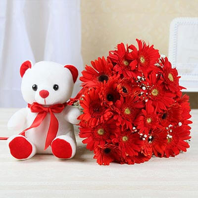 Bunch of 12 Red Gerberas n Teddy