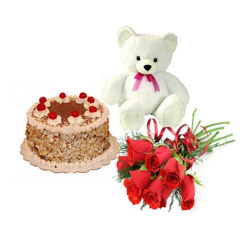 Teddy with Roses and Butter Scotch Cake