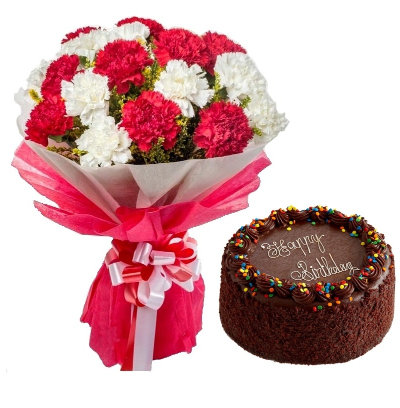 1Kg Chocolate Cake with 12 Red n White Carnations