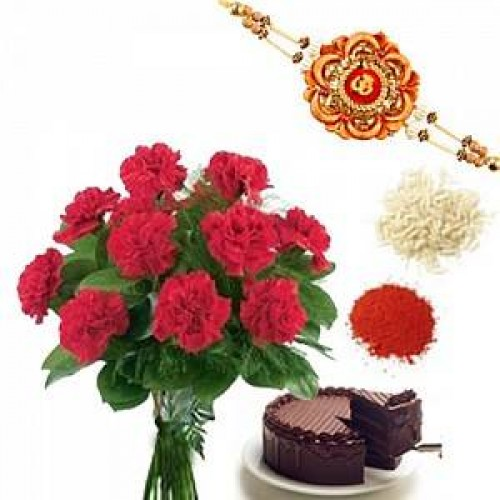Rakhi with 12 Red Carnations Bunch n 1/2Kg Chocolate Cake