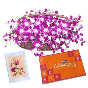 12 Purple Orchids Basket with Chocolates