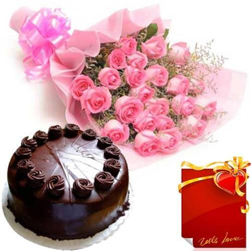 Chocolate Truffle Cake with 25 Pink Roses