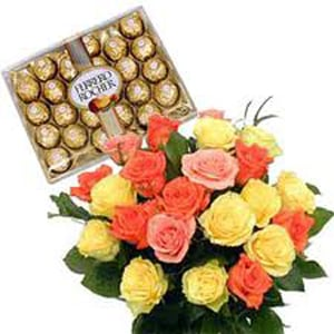 Mix Roses Bunch with Ferrero Rochers Chocolates