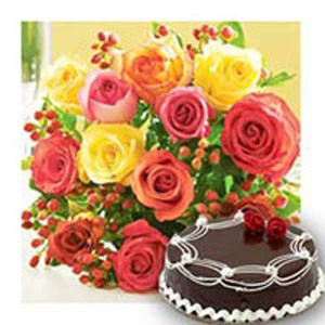 12 Mixed Roses with 1Kg Chocolate Cake