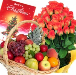 Christmas Flowers with Fruit Basket