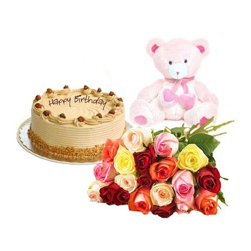 Mix Roses with Butter Scotch Cake n Teddy