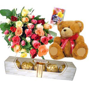 Mixed Roses with Ferrero Rocher Chocolates n Teddy