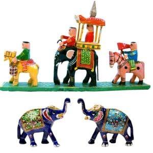 Buy Handpainted Elephant Pair n Get Handicraft Fre