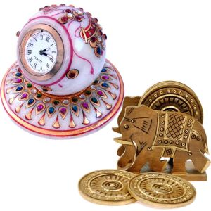 Buy Marble Table Clock n Get Wood Tea Coaster Free