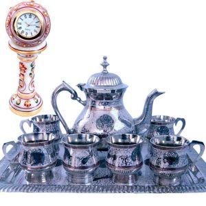 Buy Meenakari Royal Tea Set n Get Marble Clock Fre