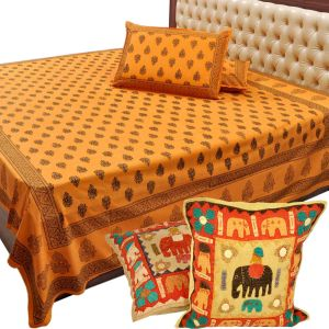 Double Bed Sheet n Get Cushion Cover Set Free
