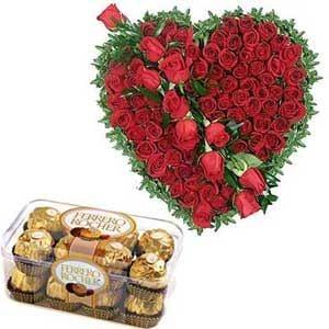 Roses Heart Shape N Ferrero Chocolates