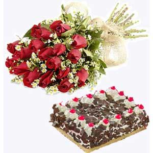 12 Red Roses n 1Kg Black Forest Cake