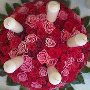 50 Red Roses with Candles