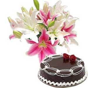 Lilies with Chocolate Cake