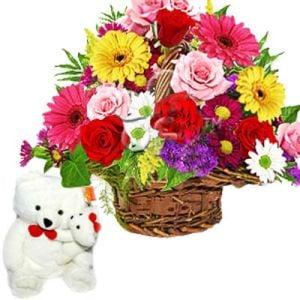 Cute Teddy n Basket of 24 Mixed Flowers