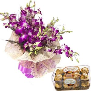 12 Purple Orchids n Ferrero Chocolates