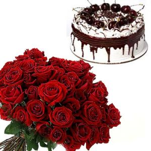 12 Roses n 1Kg Black Forest Cake Round Shape