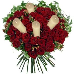 Bunch of 50 Red Roses with Candles Flower