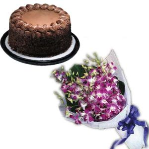 Orchids Bunch n Chocolate Cake