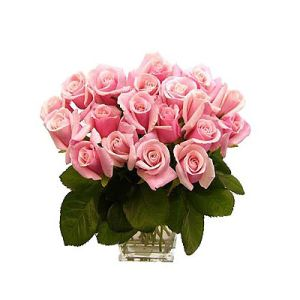 Natural Pink Roses in Glass Vase Flower